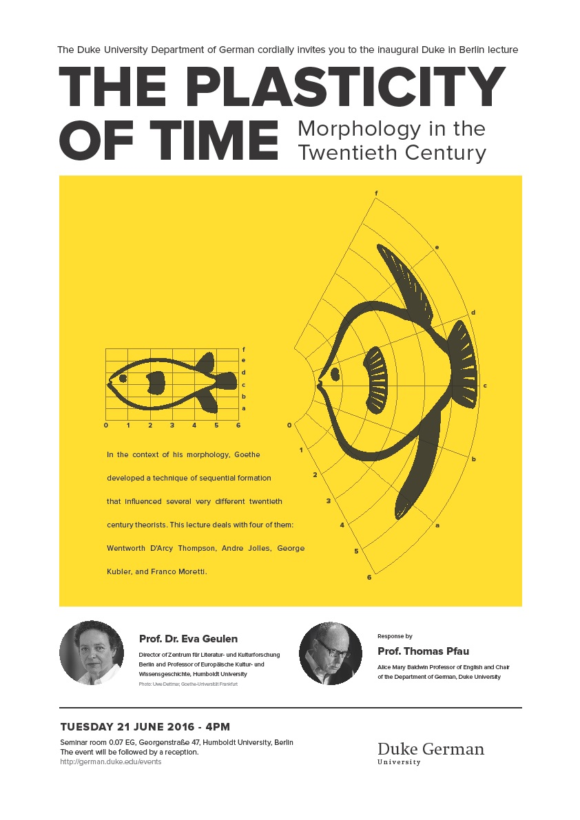 Duke In Berlin Lecture: The Plasticity of Time: Morphology in the Twentieth Century