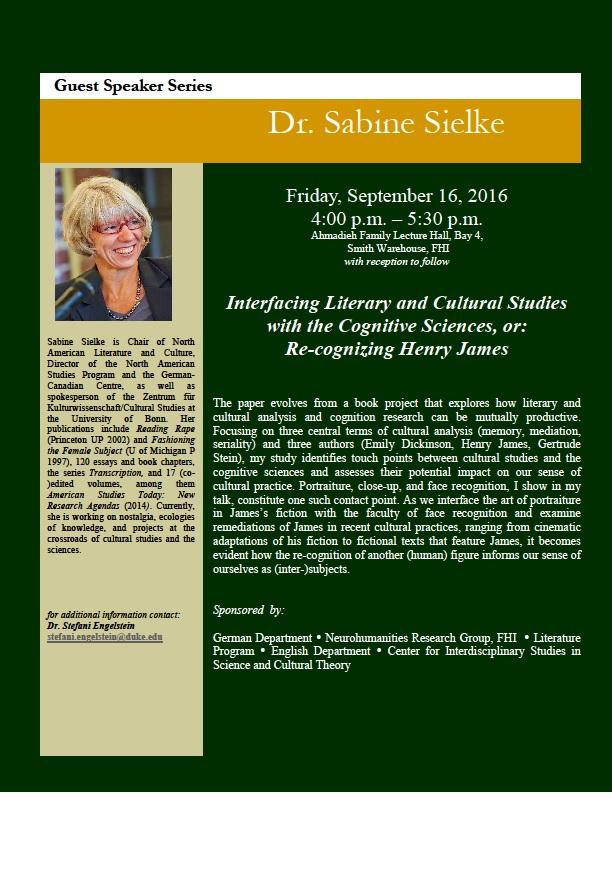 Guest Speaker Series: Dr. Sabine Sielke